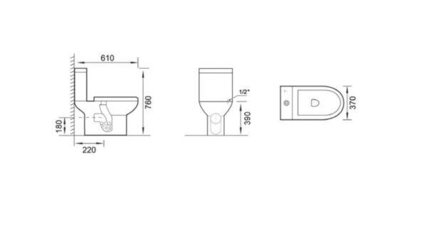 Bela keramična WC školjka s kotličkom in desko - Kavala