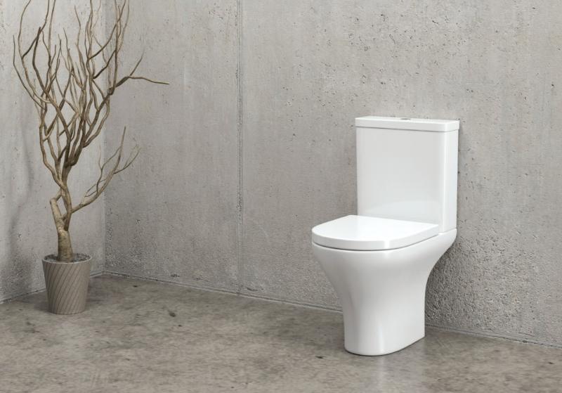 Bela keramična WC školjka z desko in kotličkom - Amfipolis Round