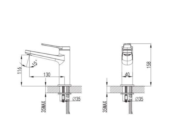 Črna kopalniška armatura za umivalnik - Andare Nero