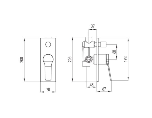 Črna kopalniška podometna armatura za tuš - Andare Nero