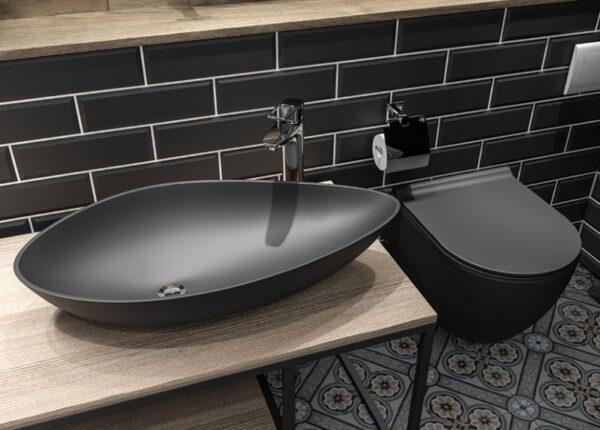 Črna viseča keramična WC školjka z desko - City