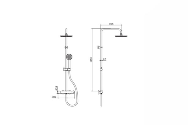 Kovinska termostatska tuš kolona CF029T