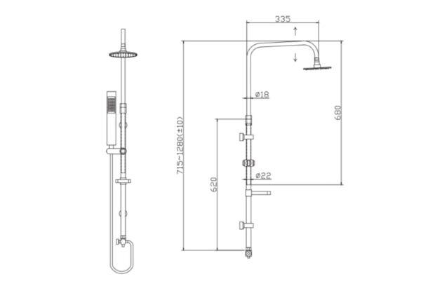 Kovinska termostatska tuš kolona Mairi