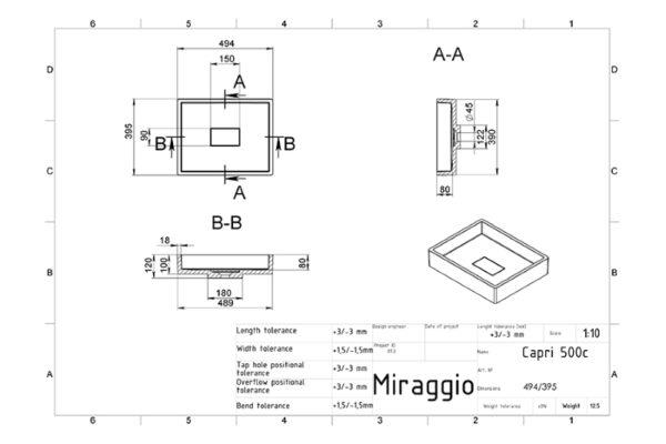 Pravokotni nadpultni umivalnik Capri