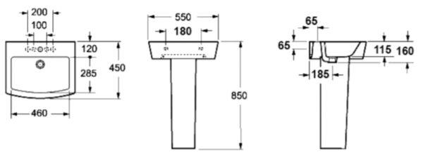 Samostoječi keramični umivalnik za kopalnico LP 1060