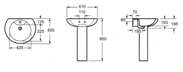 Samostoječi keramični umivalnik za kopalnico LP 1092