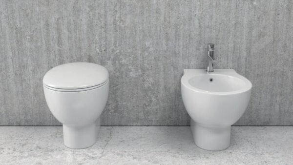Talna bela keramična WC školjka z desko - Aphro