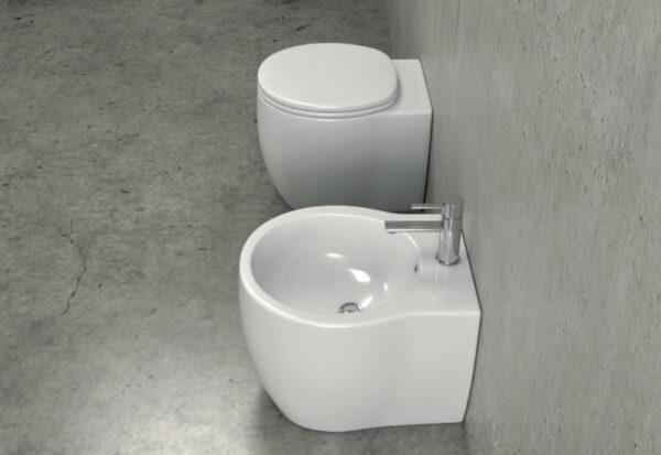 Talna bela keramična WC školjka z desko - Impression