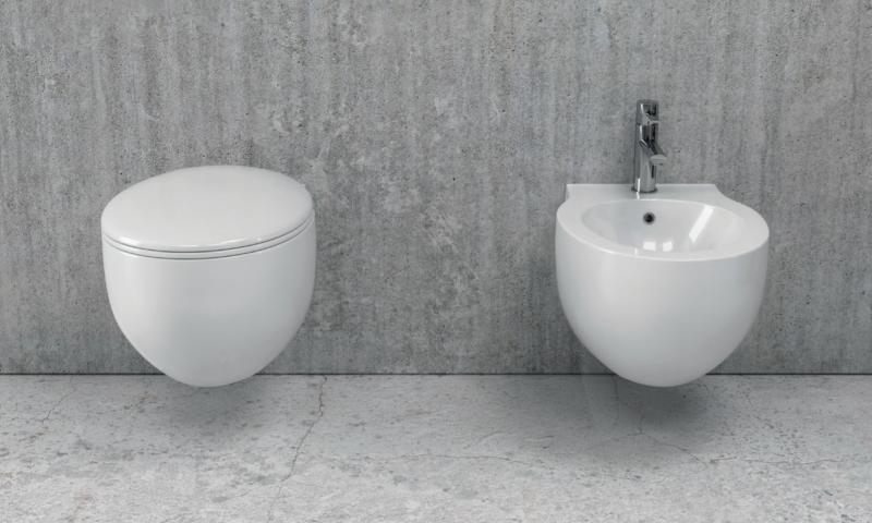 Viseča bela keramična WC školjka z desko - Aphro