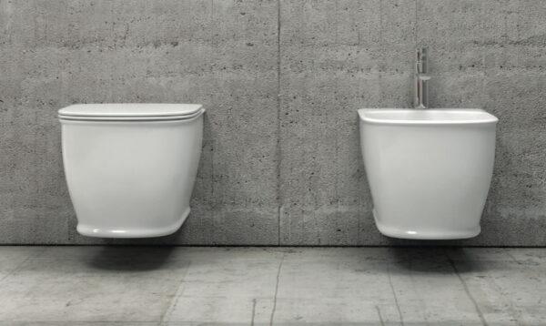 Viseča bela keramična WC školjka z desko - Genesis