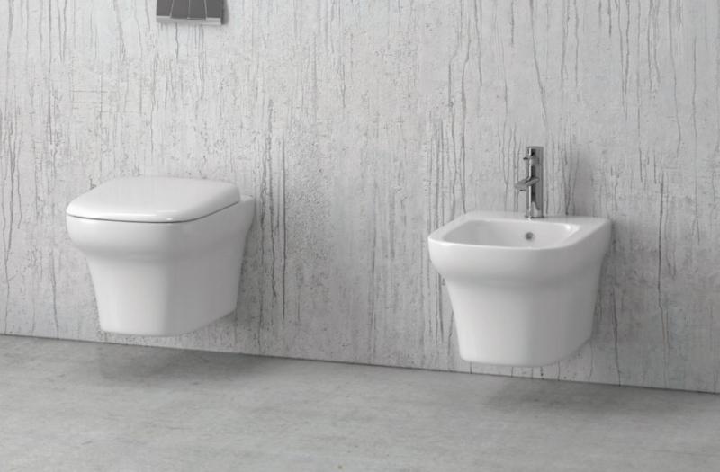 Viseča bela keramična WC školjka z desko - Grace