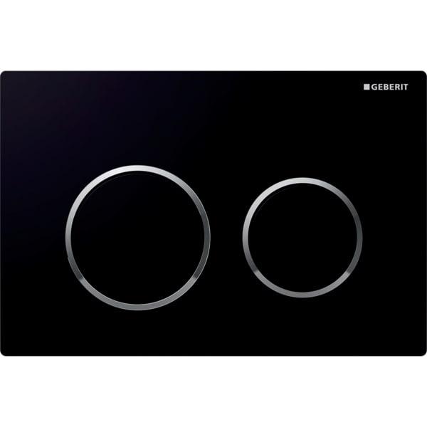Aktivirna tipka Geberit Omega20, za dvokoličinsko splakovanje, črna/sijajni krom/črna