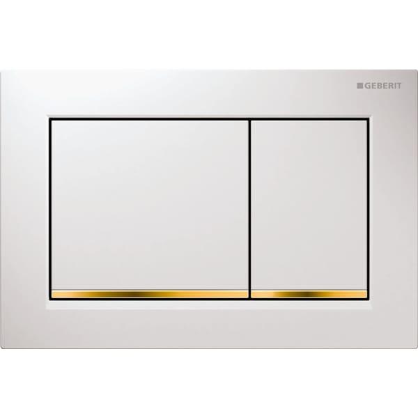 Aktivirna tipka Geberit Omega30, za dvokoličinsko splakovanje, bela/pozlačena/bela