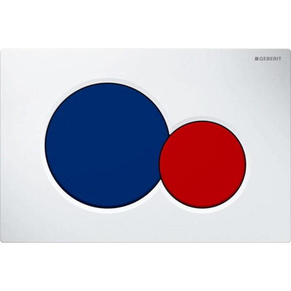 Aktivirna tipka Geberit Sigma01, za dvokoličinsko splakovanje, bela/modra/rdeča