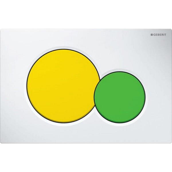 Aktivirna tipka Geberit Sigma01, za dvokoličinsko splakovanje, bela/rumena/zelena