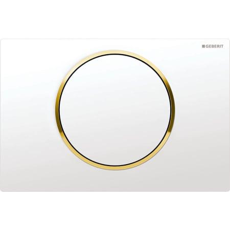 Aktivirna tipka Geberit Sigma10, za start/stop splakovanje, bela/pozlačena/bela