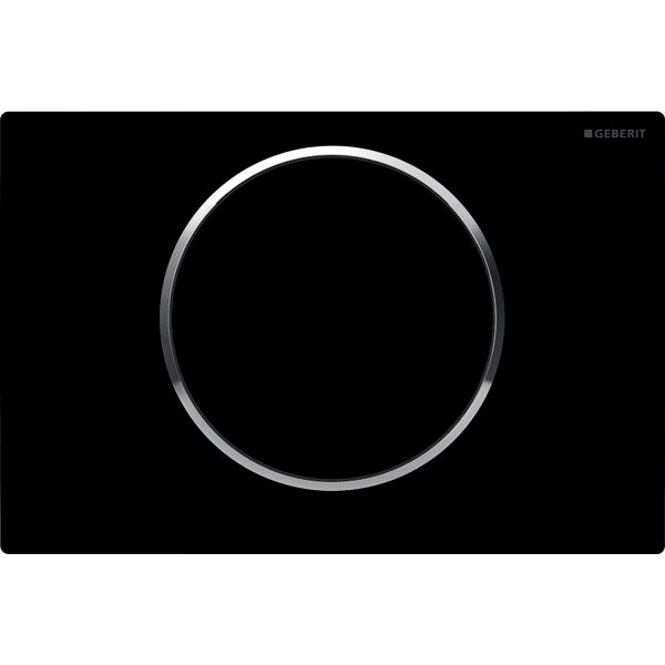 Aktivirna tipka Geberit Sigma10, za start/stop splakovanje, črna/sijajni krom/črna