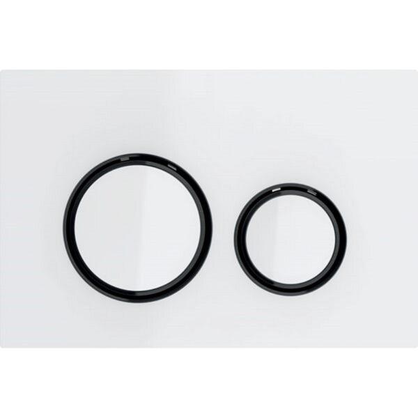 Aktivirna tipka Geberit Sigma21, za dvokoličinsko splakovanje, kovinska barva, črni krom, belo steklo