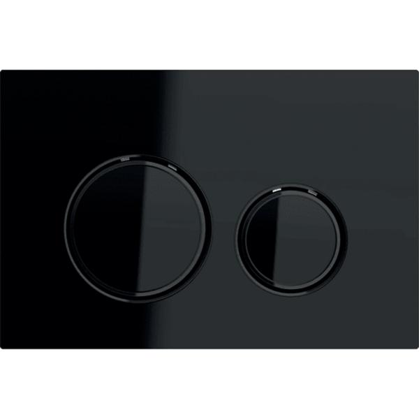 Aktivirna tipka Geberit Sigma21, za dvokoličinsko splakovanje, kovinska barva, črni krom, črno steklo