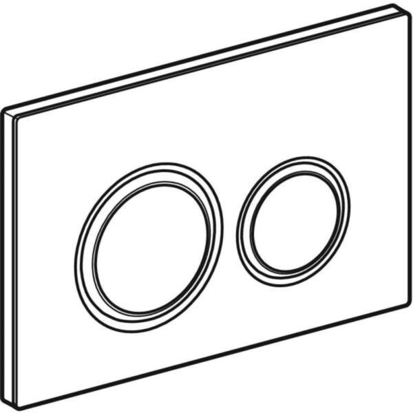 Aktivirna tipka Geberit Sigma21, za dvokoličinsko splakovanje, kovinska barva, kromirana, belo steklo