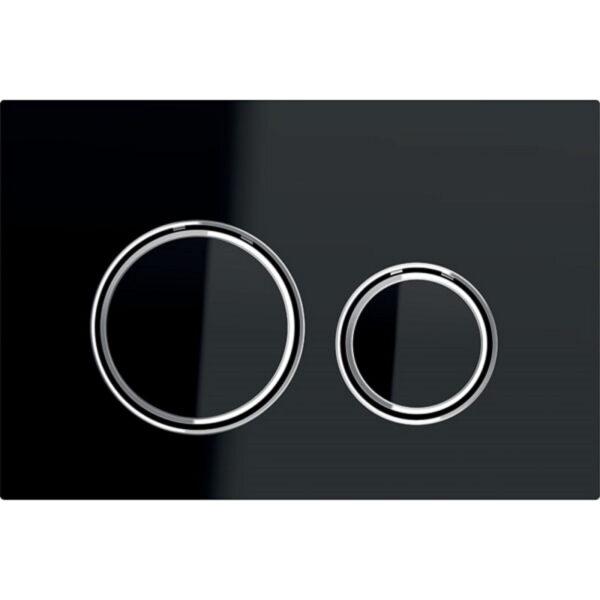Aktivirna tipka Geberit Sigma21, za dvokoličinsko splakovanje, kovinska barva, kromirana, črno steklo