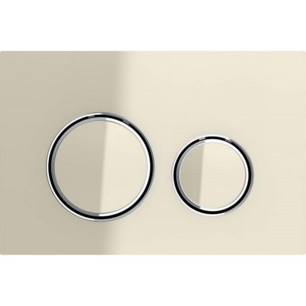 Aktivirna tipka Geberit Sigma21, za dvokoličinsko splakovanje, kovinska barva, kromirana, steklo peščene barve