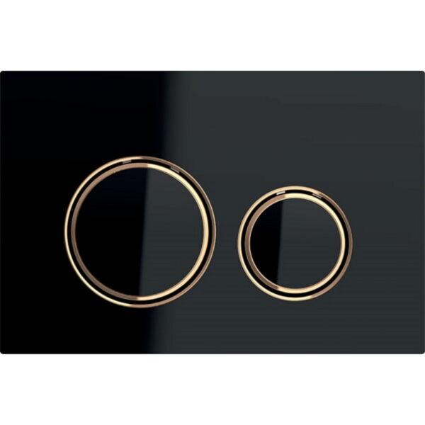 Aktivirna tipka Geberit Sigma21, za dvokoličinsko splakovanje, kovinska barva, rdeče zlato, črno steklo
