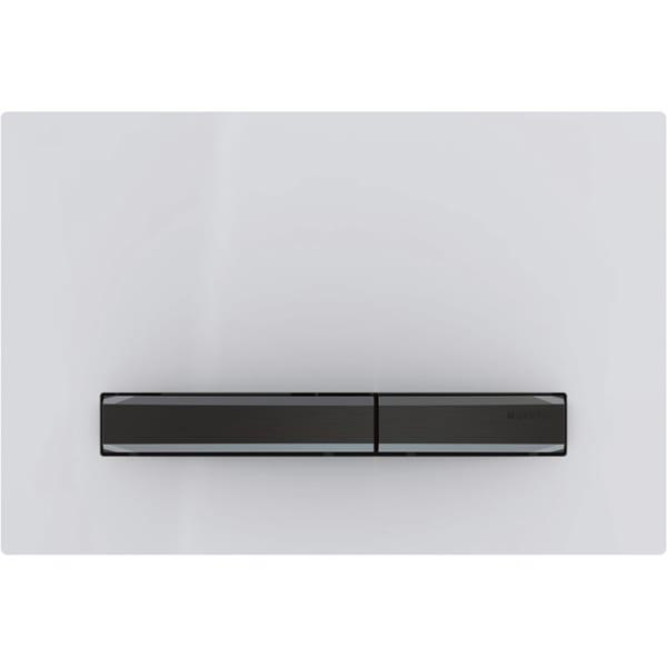 Aktivirna tipka Geberit Sigma50, za dvokoličinsko splakovanje, kovinska barva, črni krom, alpsko bela