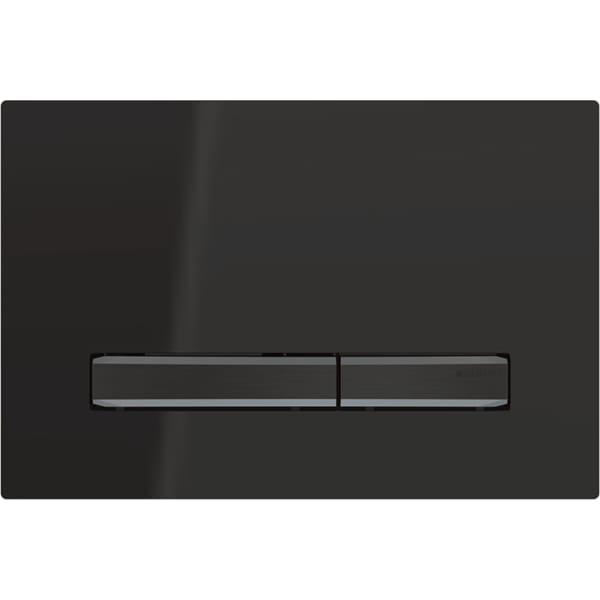 Aktivirna tipka Geberit Sigma50, za dvokoličinsko splakovanje, kovinska barva, črni krom, črna