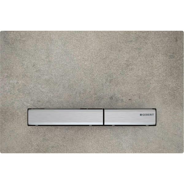 Aktivirna tipka Geberit Sigma50, za dvokoličinsko splakovanje, kovinska barva, kromirana, videz betona
