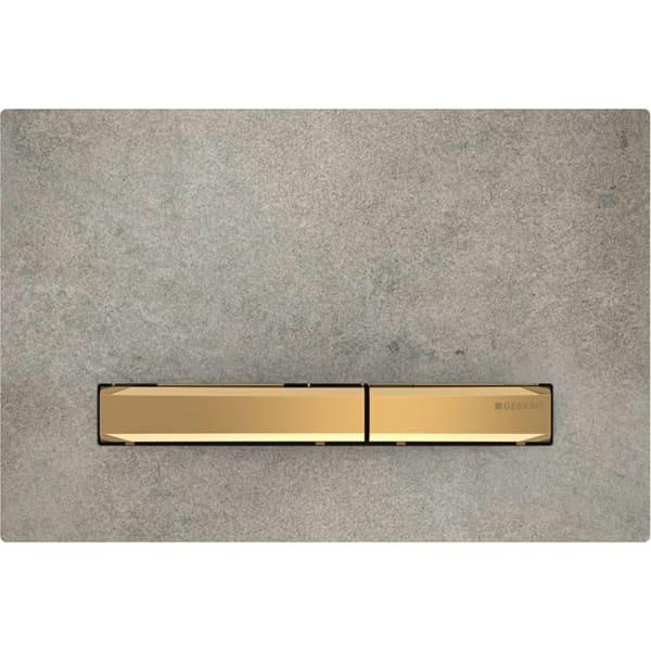 Aktivirna tipka Geberit Sigma50, za dvokoličinsko splakovanje, kovinska barva, medenina, videz betona