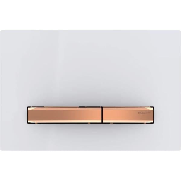 Aktivirna tipka Geberit Sigma50, za dvokoličinsko splakovanje, kovinska barva, rdeče zlato, alpsko bela