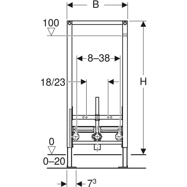 Element Geberit Duofix za bide 112 cm univerzalni 2