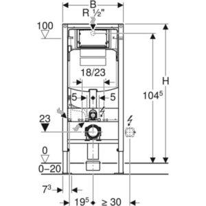 Element Geberit Duofix za stensko WC školjko, 112 cm, s podometnim splakovalnikom Sigma 12 cm