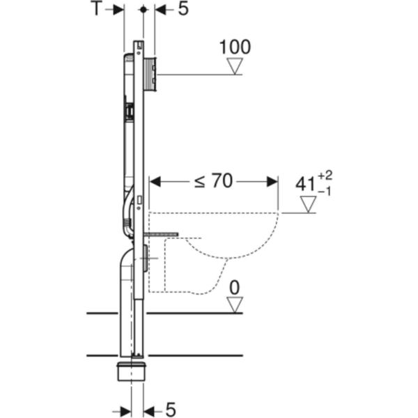 Element Geberit Duofix za stensko WC školjko, 114 cm, s podometnim splakovalnikom Sigma 8 cm