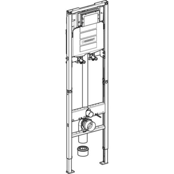 Element Geberit Duofix za trokadero, 175 cm, s podometnim splakovalnikom Sigma, 12 cm, nadometna stenska armatura