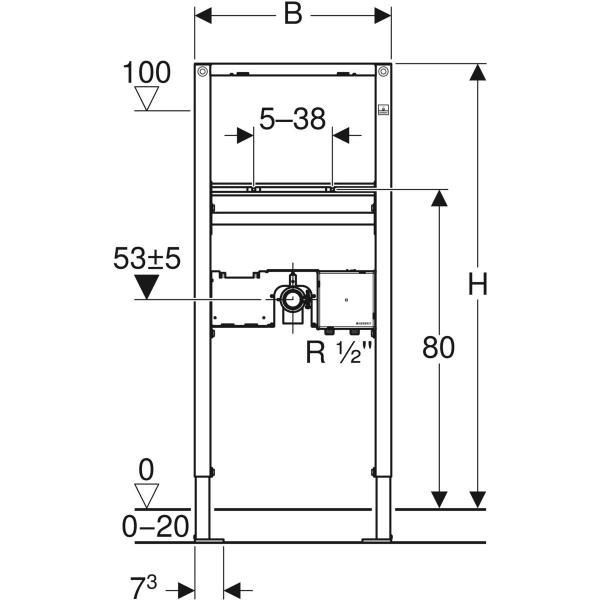 Element Geberit Duofix za umivalnik 112 cm elektronska stojeca armatura s podometno funkcijsko skatlo 2