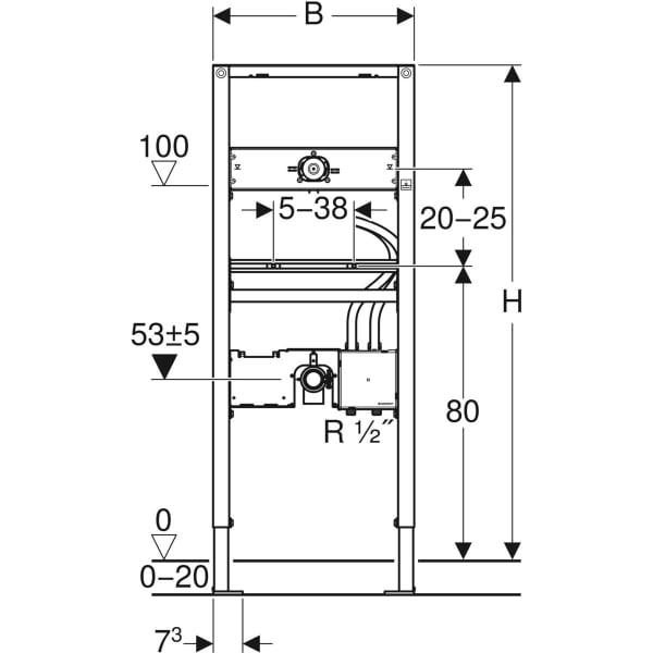 Element Geberit Duofix za umivalnik 130 cm elektronska stenska armatura s podometno funkcijsko skatlo 2
