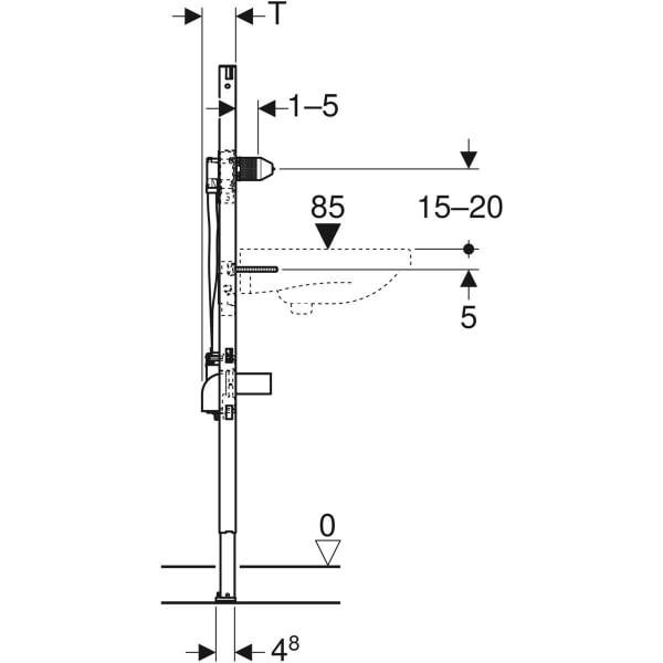 Element Geberit Duofix za umivalnik 130 cm elektronska stenska armatura s podometno funkcijsko skatlo 3