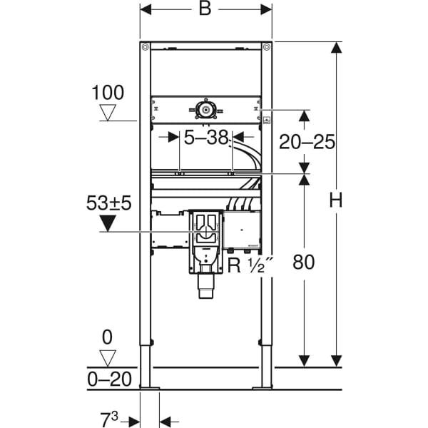 Element Geberit Duofix za umivalnik 130 cm elektronska stenska armatura s podometno funkcijsko skatlo s podometnim sifonom 2