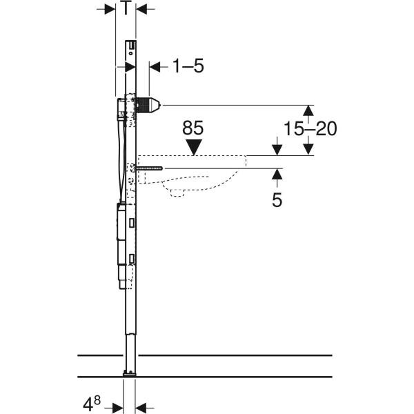 Element Geberit Duofix za umivalnik 130 cm elektronska stenska armatura s podometno funkcijsko skatlo s podometnim sifonom 3