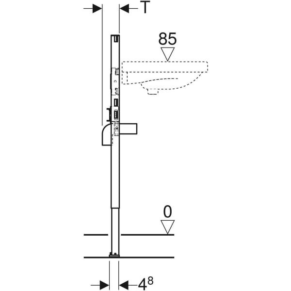 Element Geberit Duofix za umivalnik, 82–98 cm, stoječa armatura, stensko sidro