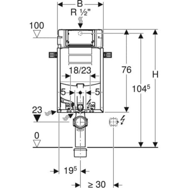 Element Geberit Kombifix za stensko WC školjko, 108 cm, s podometnim splakovalnikom Sigma 12 cm
