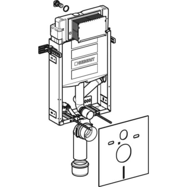 Element Geberit Kombifix za stensko WC školjko, 108 cm, s podometnim splakovalnikom Sigma 12 cm, s priključkom za odzračevanja neprijetnih vonjav na zunanje odzračevanje