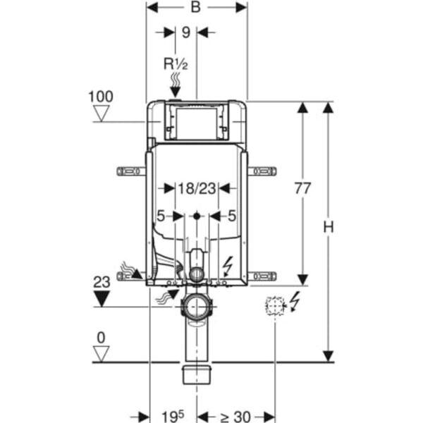 Element Geberit Kombifix za stensko WC školjko, 109 cm, s podometnim splakovalnikom Sigma 8 cm