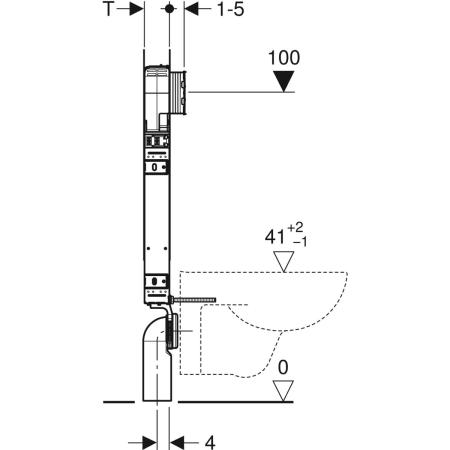Element Geberit Kombifix za stensko WC školjko, 109 cm, s podometnim splakovalnikom Sigma 8 cm, za odzračevanja neprijetnih vonjav na zunanje odzračevanje