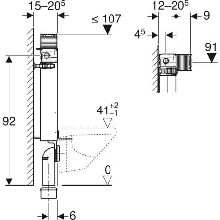 Element Geberit Kombifix za stensko WC školjko, 98 cm, s podometnim splakovalnikom Omega 12 cm