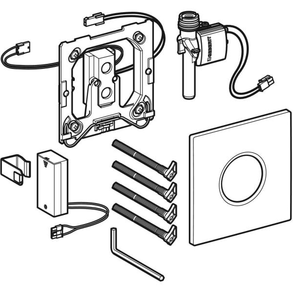 Krmiljenje Geberit za pisoar z elektronskim aktiviranjem splakovanja delovanje na baterije pokrivna plosca Tip01 1