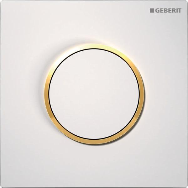 Krmiljenje Geberit za pisoarje s pnevmatskim aktiviranjem splakovanja aktivirna tipka Tip10 bela pozlacena bela