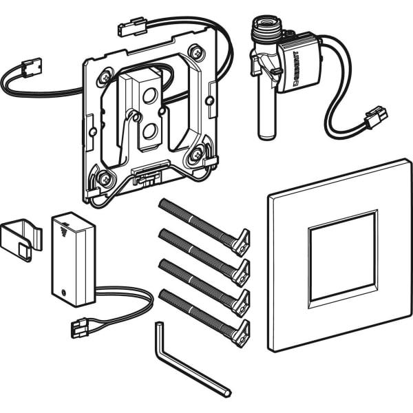 Krmiljenje Geberit za pisoarje z elektronskim aktiviranjem splakovanja delovanje na baterije pokrivna plosca Tip30 1